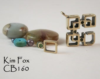 Rectangular Slot Clasp in Oriental Style in Golden Bronze or Sterling Silver by Kim Fox suitable for bracelet or necklace