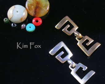 Greek Key Hook and Eye Clasp for single or multi- strand jewelry designed by Kim Fox