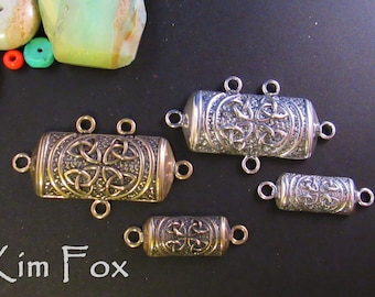 Large KF18 and Small Celtic KF22 Barrel Connectors in Silver and Bronze