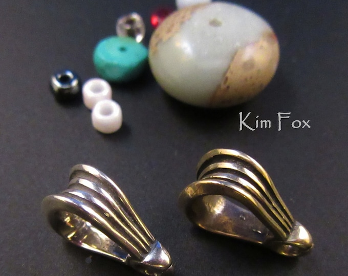 KF341 Grooved Bail to add to pendants in Silver or Golden Bronze 10x15mm or 9/16x3/8 inch with 7 by 10mm opening or 3/8 by 9/16 opening