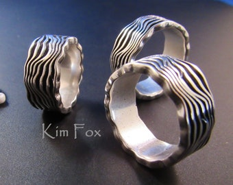 Grand Canyon Ring with deeply etched grooves and scalloped edges in silver designed by Kim Fox