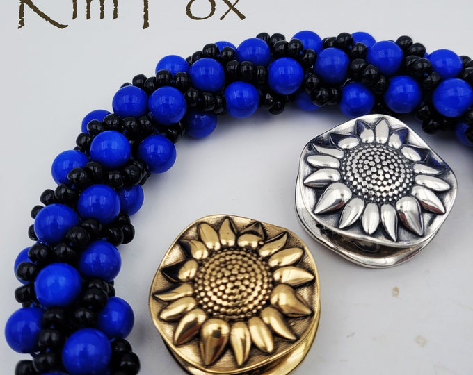 KF197 Sunflower magnetic clasp in Sterling Silver or Golden Bronze designed by Kim Fox