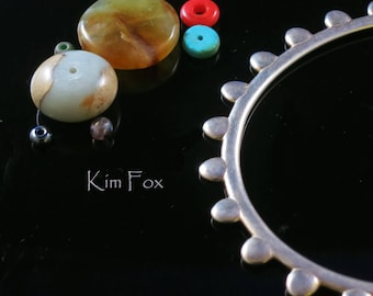 KFB18 8 inch Oval Petal Bangles in Silver and Bronze - Designed by Kim Fox stackable
