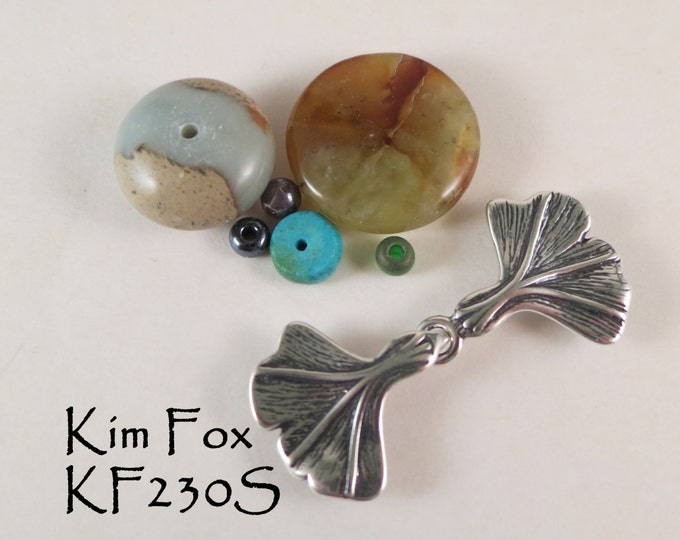 KF230 Hook and Eye Clasp with Gingko Leaf Design in Sterling Silver or Golden Bronze by Kim Fox