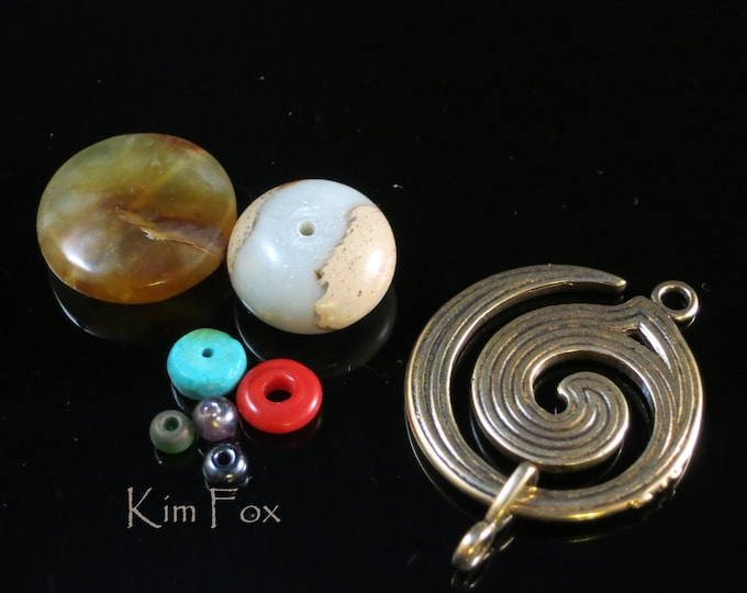 KF 329 Large Spiral Clasp - One and a half by One Inch Two Sided Clasp/Pendant in Golden Bronze and Sterling Silver Designed by Kim Fox