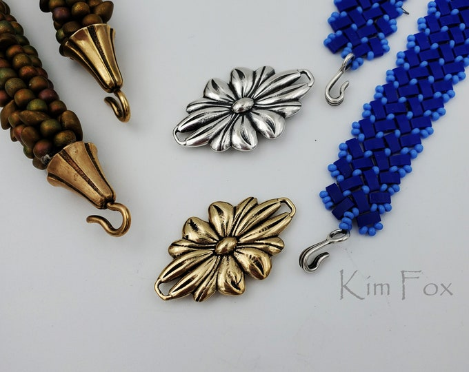 KF414 Daisy Element that can be clasp, station or pendant designed by Kim Fox in silver or bronze