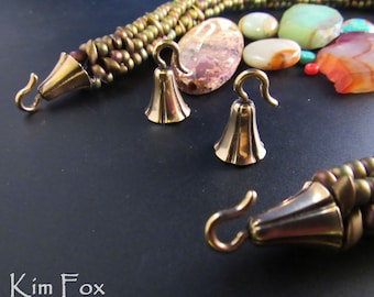 KF408 A Pair of Bell Shaped Glue In Cones with hooks in  Golden Bronze designed by Kim Fox