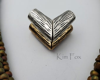 KF310 V Magnetic Clasp in Bronze and Sterling Silver suitable for necklaces designed by Kim Fox