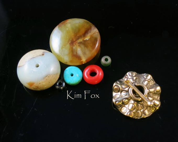 C187 Round Single Strand Secure and Easy to Use Toggle with Sea Urchin Pattern-in sterling silver and golden bronze - single loop by Kim Fox