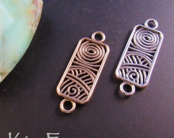 Filligree Swirl Rectangle- use for earrings, clasps, links, stations in Sterling Silver or Golden Bronze by Kim Fox