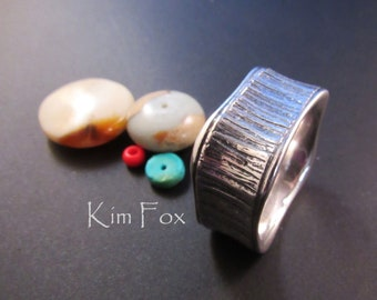 KFR286 The Forest for the Trees Vertically grooved rounded square ring suitable for both men & women designed by Kim Fox in sterling silver