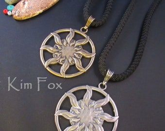 Sun Pendant in silver or golden bronze - round 1 7/8 inch two sided pendant with large bail in silver by Kim Fox