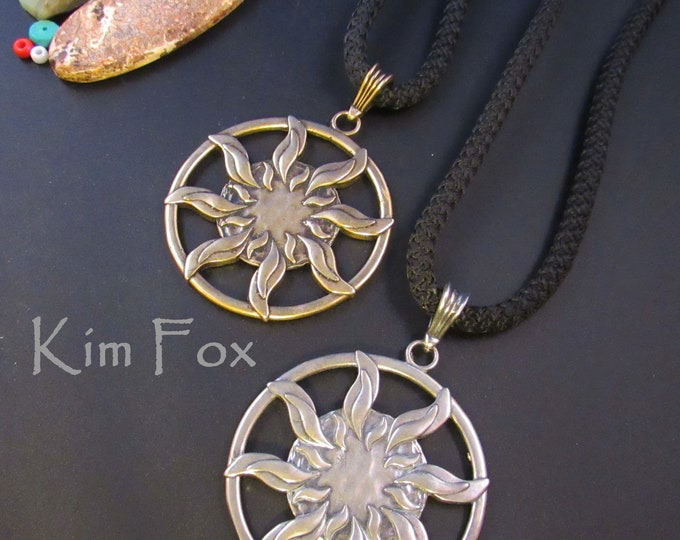 KFP333 Larger Sun Pendant in silver or golden bronze - round 1 7/8 inch two sided pendant with large bail in silver by Kim Fox