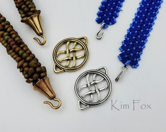 KF411 Round Woven Element can be used as clasp, pendant, earring, station in bronze and silver two sided by Kim Fox