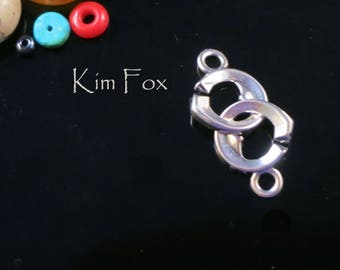 KF342 Small Double Heart Sister Hook Clasp in Sterling Silver or Golden Bronze by Kim Fox