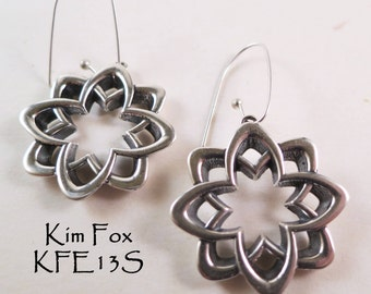 KFE13 Desert Flower Earrings Reversible in silver or bronze with silver wires or gold filled wires by Kim Fox