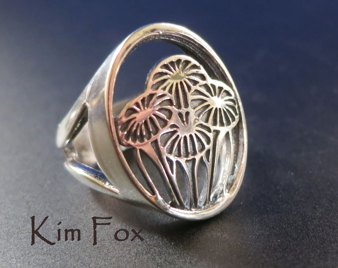 Gift of Love Ring - bouquet - in silver designed by Kim Fox Arte Deco-Craftsman style-