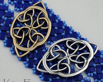 KF442 Irish Lace Element - use as clasp - earring - pendant - station in jewelry- designed by Kim Fox - silver and golden bronze