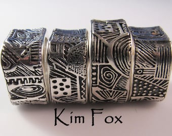 New Doodle or Zentangle Rounded Rectangle Ring designed by Kim Fox in Sterling Silver