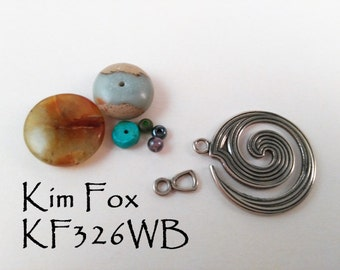 KF329 Large Spiral Clasp - One and a half by One Inch Two Sided Clasp/Pendant in White Bronze Designed by Kim Fox