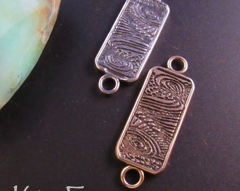 Solid Swirl Rectangle- use for earrings, clasps, links, stations in Sterling Silver or Golden Bronze by Kim Fox