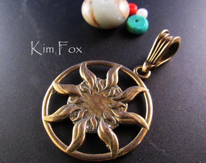 KFP333 Smaller Sun Dance Pendant - round 1 1/8inch two sided pendant with large bail in bronze by Kim Fox