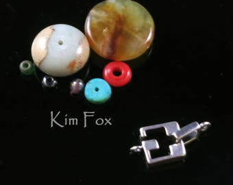 Square Slot Clasp for necklace or bracelet in silver and bronze by Kim Fox