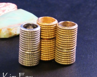 KF374 Beaded Lipstick Tube Magnetic Clasp in Silver, White Bronze and Golden Bronze designed by Kim Fox