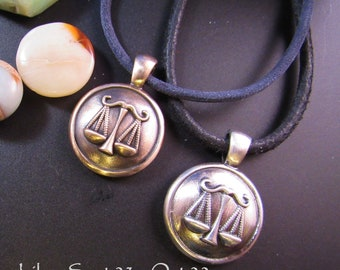 Round one inch Libra Pendant - Sept 23 to Oct 22- in solid golden bronze or sterling silver
