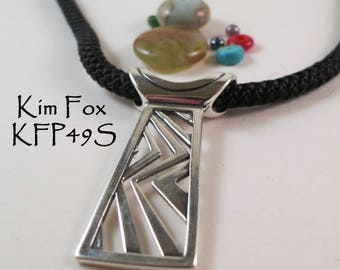 Higher Ground Pendant tabular pendant in Silver or Bronze designed by Kim Fox