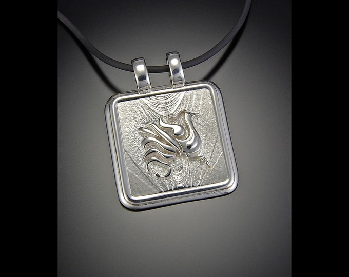 KFP17 Silver or Golden Bronze Phoenix Pendant rising from the flame
