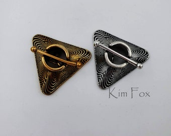 KF210 Triangular Toggle Clasp in Chartres Pattern  Secure and Easy to Use in Golden Bronze by Kim Fox - 2 strand connection