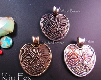 KF410 Open Heart Pendant in Silver - Golden Bronze and White Bronze designed by Kim Fox - Two Sided Pendant