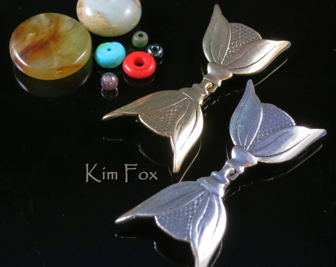 KF201 Art Deco Inspired Hook and Eye Clasp by Kim Fox in Golden Bronze and Sterling Silver -