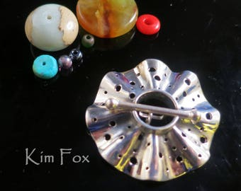 Round Silver Toggle with 4 loops in Silver with Polka Dot Pattern by Kim Fox