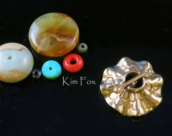 Round Toggle Two Strand Secure Clasp with Sea Urchin Ruffle in Sterling Silver or Golden Bronze by Kim Fox