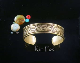 KFB43 Grand Canyon Cuff deeply carved in Substantial Golden Bronze designed by Kim Fox