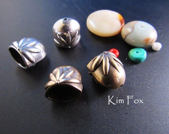 Floral Pattern Oval Cones in Sterling Silver and Golden Bronze suitable for single or two strands - glue, cord or wire connection by Kim Fox