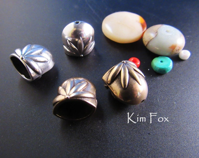 KF379 Floral Pattern Oval Cones in Sterling Silver & Bronze suitable for single or two strands - glue, cord or wire connection by Kim Fox