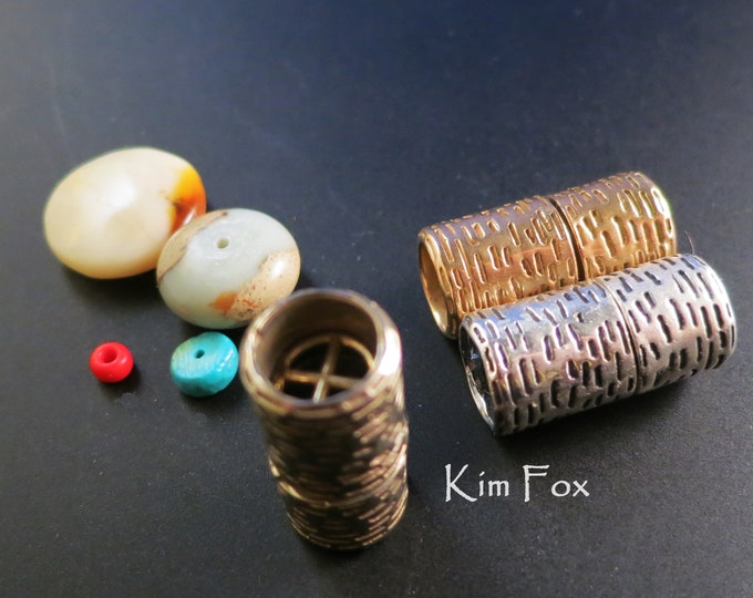 KF375 Slash Texture Lipstick Style Magnetic Clasp in Bronze, White Bronze and Sterling Silver designed by Kim Fox