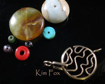C219 Swirl Round Clasp for necklace or bracelet in bronze or silver by Kim Fox