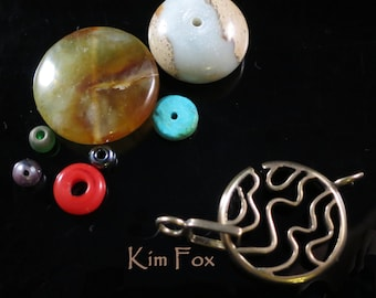 Medium Swirl Round Clasp for necklace or bracelet in bronze or silver by Kim Fox