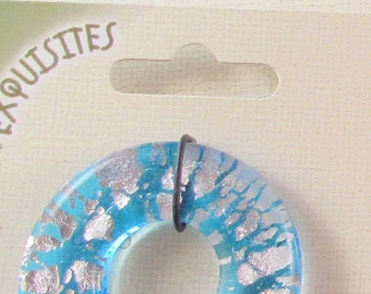 40 mm Aqua Colored Donut with foil with 2 20 mm Aqua Colored Donut