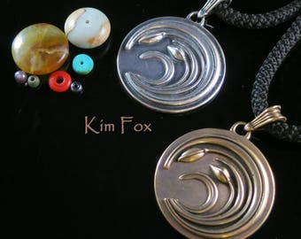 KFP327 Asian Wind Pendant in Sterling Silver or Golden Bronze based on a Japanese Code of Arms called a Mon designed by Kim Fox