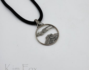 KFP407 Bell Rock Pendant in Silver or Bronze designed by Kim Fox