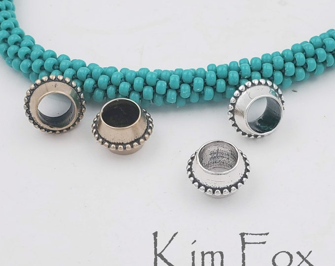 Pair of Beaded Big Hole Beads in Silver and Bronze designed by Kim Fox