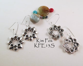 Desert Flower Earrings Reversible in silver or bronze with silver wires or gold filled wires by Kim Fox