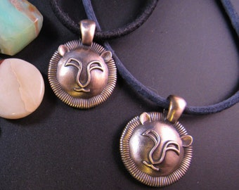 KFP169 Round Leo Pendant In Sterling Silver and Golden Bronze Designed by Kim Fox - July 23 August 22