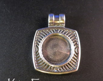 KF392 Chartres Patterned Rounded Rectangular Loop Bail with 15 mm bail  used to customize it designed by Kim Fox in Silver or Bronze