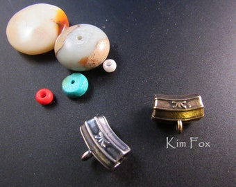 KF377 Curved 4mm Octagonal Bail created to hang pendants, attach charms or connect components designed by Kim Fox in Bronze and Silver